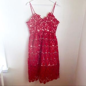 Red lace midi dress spaghetti straps